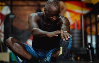 aged guy exercising